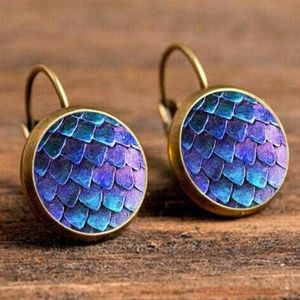 Jewelry - NEW Brass Color Round Purple Blue Scale Earrings